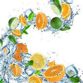 Fresh fruit with water splash — Stock Photo