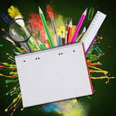 Blank paper with school supplies — Stock Photo