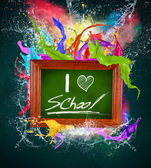Wooden blackboard with colorful splashes — Stock Photo