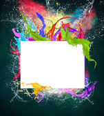 Blank paper with colorful splashes — Stock Photo