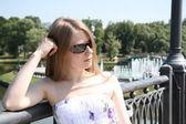 Pretty Caucasian girl in the city park — Stock Photo