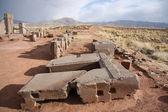Ruinerna av megalitiska sten komplexa puma punku, tiwanaku — Stockfoto