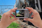 Photographing trains — Stock Photo