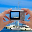 Camera and yachts — Stock Photo