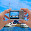 Camera and yachts - Stock Photo