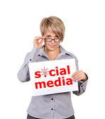 Placard social media — Stock Photo