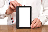 Digital tablet in hand — Stock Photo