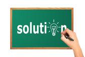 Solution on desk — Stock Photo