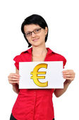 Placard with euro symbol — Stock Photo