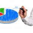 Drawing pie chart — Stock Photo