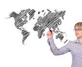 Drawing world map — Stock Photo