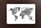 Uwaga mapa świata — Zdjęcie stockowe