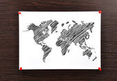 Mapa do mundo nota — Foto Stock