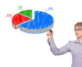 Drawing pie graph — Stock Photo