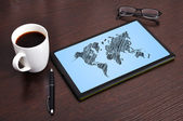 Map on touchpad — Stock Photo
