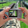 Stock Photo: Photographing train