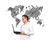 Businessman and world map — Stock Photo