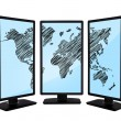 Stock Photo: World map on screen