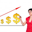 Stock Photo: Darwing growth dollar