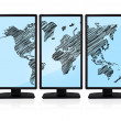World map on screen — Stock Photo