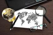 çizim dünya haritası — Stok fotoğraf