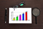 Growth of chart on paper — Stock Photo