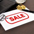 Sale symbol on paper — Stock Photo