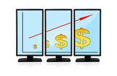 Dolar grafik ekran üzerinde — Stok fotoğraf