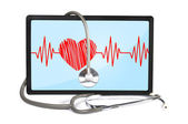 Heartbeat on touchpad — Stock Photo