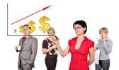 Mann zeichnung dollar chart — Stockfoto