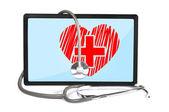 Heart on touchpad — Stock Photo