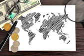 Drawing world map — Stock Photo