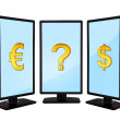 Monitors with sign — Stock Photo