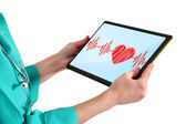 Doctor with touchpad — Stock Photo