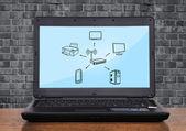 Wifi scheme on monitor — Stock Photo