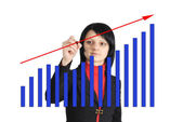 Woman drawing a graph — Stock Photo