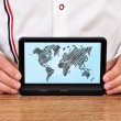 Tablet with world map — Stock Photo