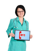 911 symbol on touchpad — Stock Photo