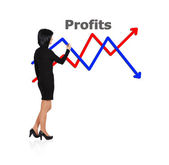 Woman drawing chart profit — Stock Photo