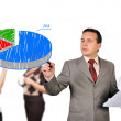 Foto Stock: Man drawing pie chart
