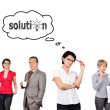 Woman thinks about solution — Stockfoto