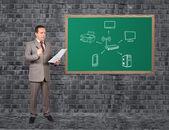 Bilgisayar ağ üstünde okul sırası — Stok fotoğraf