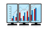 Chart on screen monitors — Stock Photo