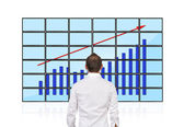 Flat panels with chart — Stock Photo