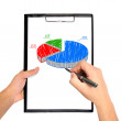 Hand drawing pie chart — Stock Photo