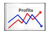 Grafiek in boek — Stockfoto