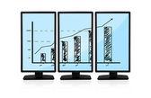 Flat panels with chart — Stock Photo