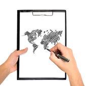 Mapa do mundo rawing — Foto Stock
