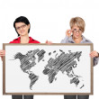 Blackboard with world map — Stock Photo