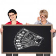Blackboard with dollars — Stock Photo